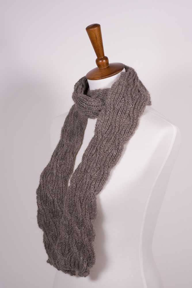 Gray Cable Scarf - Thistlehill Farm | Twisted Strait Fibers