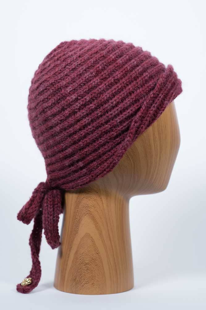 Burgundy Hat with Bow - Thistlehill Farm | Twisted Strait Fibers