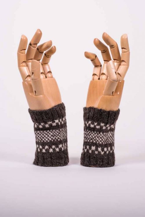 Brown and White Wrist Warmers - Thistlehill Farm | Twisted Strait Fibers