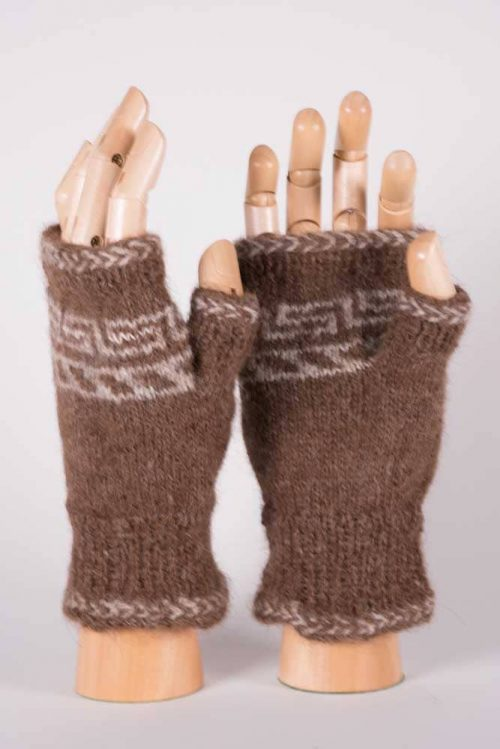 Chocolate & Cream Fingerless Mittens - Thistlehill Farm | Twisted Strait Fibers